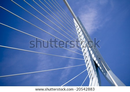 details of the Erasmus Bridge - the symbol of Rotterdam. Horizontal shot