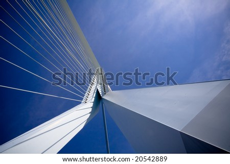 Details of the Erasmus Bridge - the symbol of Rotterdam. View from the bridge - stock photo