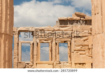 Details of the Erechtheion or Erechtheum temple. Erechtheum is an ancient Greek temple on the north side of the Acropolis of Athens in Greece which was dedicated to both Athena and Poseidon. Athens. - stock photo