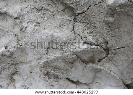 Details of the eroded surface of the old concrete wall.