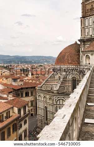 "Details of the exterior of the Cattedrale di Santa Maria del Fiore ( ""Cathedral of Saint Mary of the Flower"") is the main church of Florence, Italy. Il Duomo di Firenze, as it is ordinarily called."