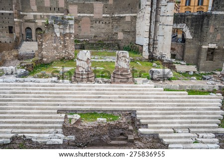 Details of the Imperial Fora ruins in Rome city centre, Italy. - stock photo