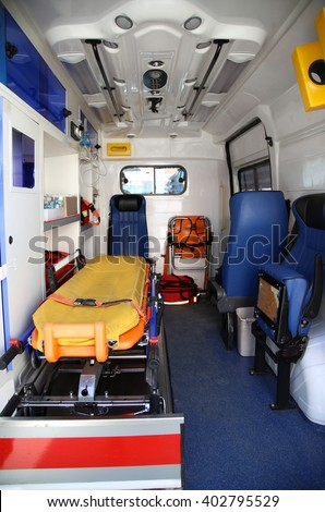 Details of the inside part of the medical equipment in vans ambulance - stock photo