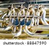 Details of the keys of a wind musical instrument - stock photo