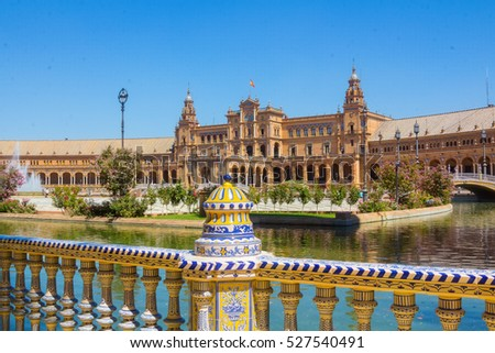 Details of the railing decorated ceramic Pond from the famous Plaza of Spain in Seville, Spain