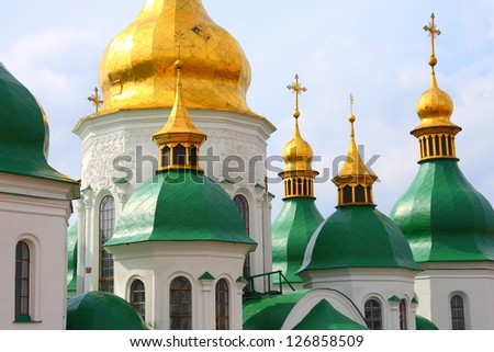 Details of  the roof of Saint Sophia Cathedral in Kiev (Ukraine): 11th century orthodox landmark - stock photo
