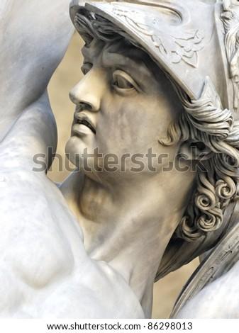 details of the sculpture  Ratto delle Sabine in the logia della Signoria, in Piazza della Signoria, Florence, Italy - stock photo