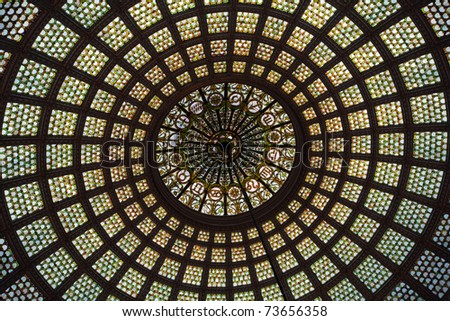 Details of Tiffany's stained glass dome in Chicago Cultural Center - stock photo