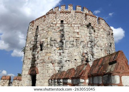 Details of tower of Yedikule Fortress in Istanbul - stock photo