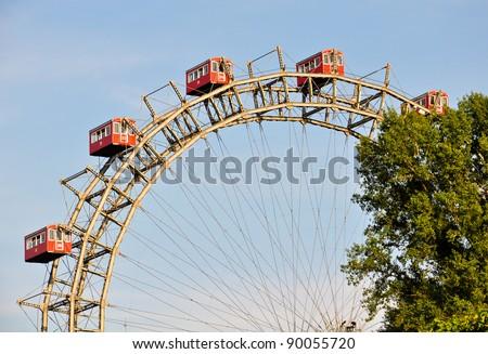 "details of vienna's giant ferris wheel, the ""riesenrad"" - stock photo"