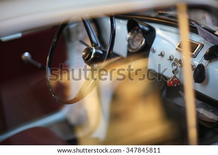 Details of vintage automobile interior - stock photo