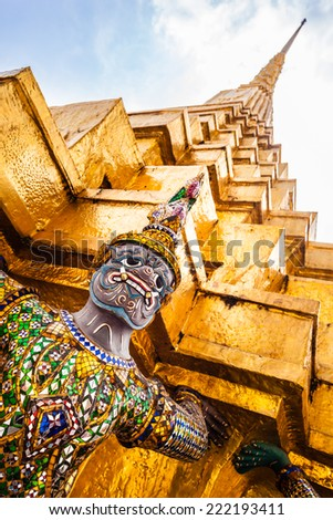 Details of Wat Phra Kaew, Temple of the Emerald Buddha, Bangkok, Thailand. - stock photo
