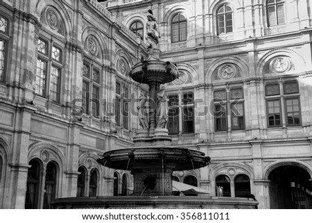details of water fountain in front of The Vienna Opera house in Vienna, Austria - stock photo