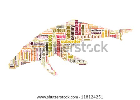 Details of whale in word collage - stock photo