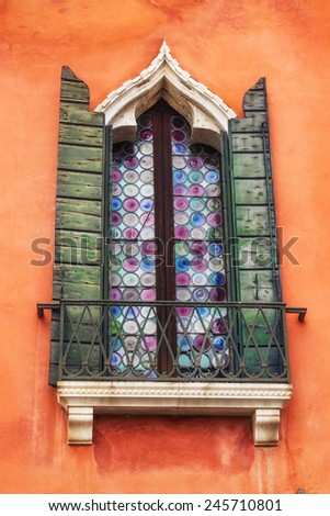 Details of windows in Venice, Italy - stock photo