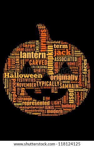 Details on jack O lantern in word collage - stock photo