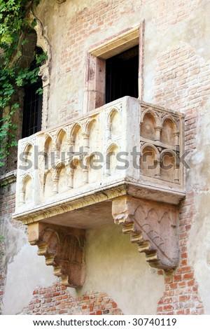 details Romeo and Juliet balcony in Verona, Italy - stock photo