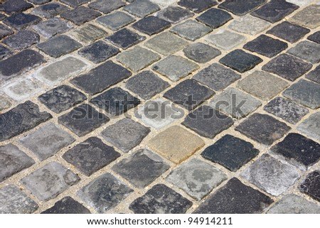 details shot of street paved with cobblestone ?t Buda castle in  Budapest, Hungary - stock photo