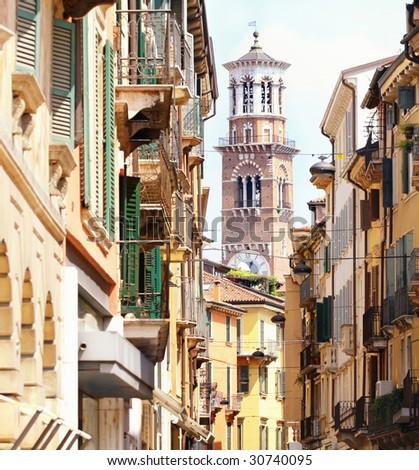 details Tower Lamberti in city Verona, Italy - stock photo