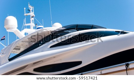Detailview of a  modern luxury yacht, - stock photo