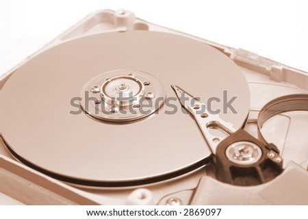 Detalied open hard drive, braun version