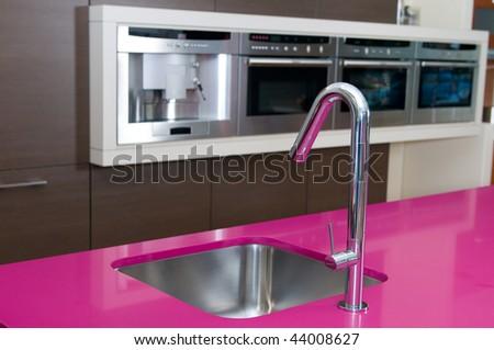 detall of modern kitchen - stock photo