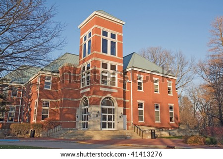 Detchon Center for Modern Languages and International Studies on the campus of Wabash College, an all-male liberal arts school in Crawfordsville, Indiana with a bright blue sky