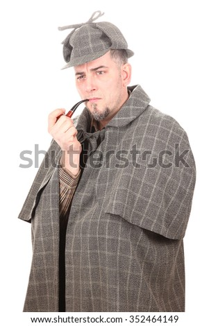 Detective Sherlock Holmes portrait with smoking pipe on white - stock photo