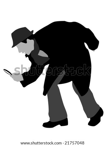 detective with magnifier on isolated background - stock photo