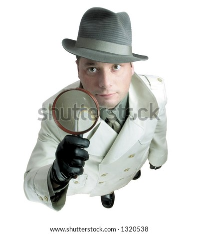 Detective with magnifying glass 2 - stock photo