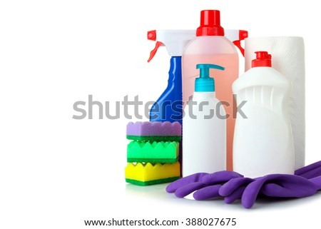 detergent and rubber gloves with sponge for washing dishes isolated on white background - stock photo