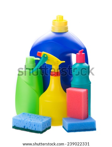detergent bottles and sponges isolated on white background - stock photo