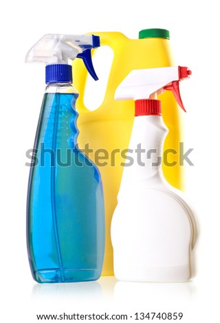 Detergent bottles  isolated on white  background.