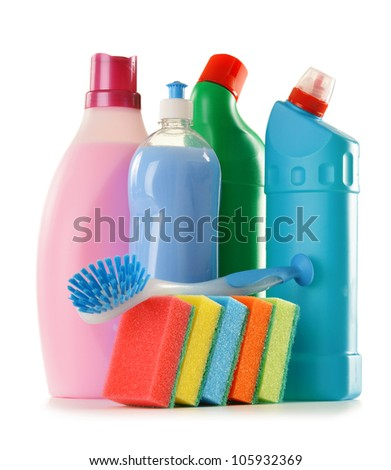 Detergent bottles isolated on white. Chemical cleaning supplies - stock photo