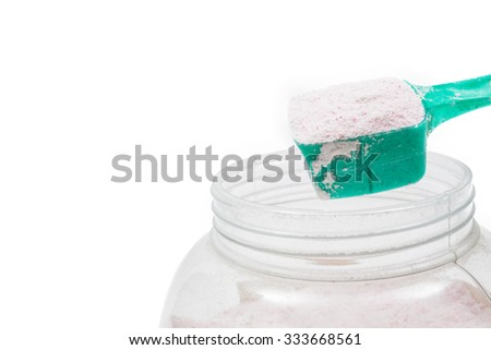 detergent for a laundry washer isolated on white background - stock photo