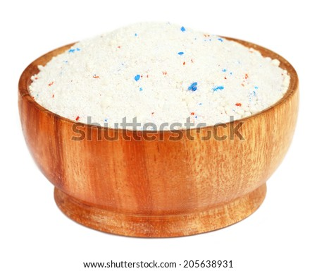 Detergent powder in a wooden bowl - stock photo
