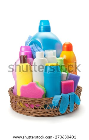 detergents and cleaning products isolated on white background - stock photo
