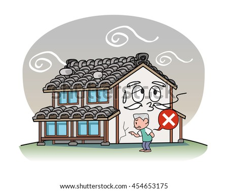 Deterioration of weight roof - stock photo