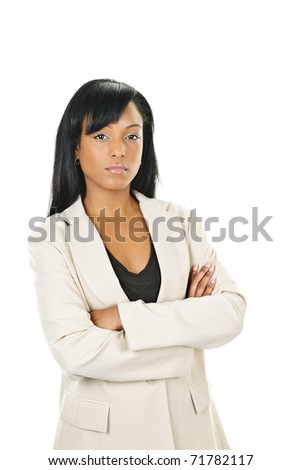 Determined black businesswoman with arms crossed isolated on white background - stock photo