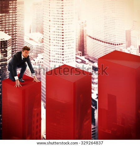 Determined businessman begins his climb of statistic