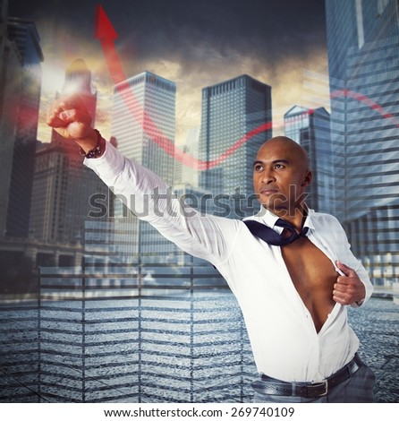 Determined businessman fierce as a superhero business - stock photo