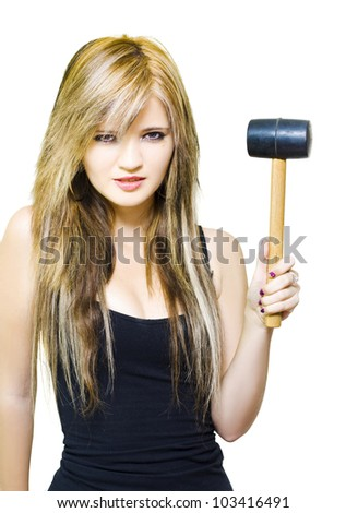 Determined, Firm And Resolute Business Woman Holding Mallet Looking To Hit The Nail Over The Head In A Business Challenge Over Adversity On White Background - stock photo