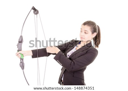 determined professional office woman archer - stock photo