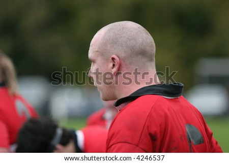 Determined Rugby player, surveys the field - stock photo