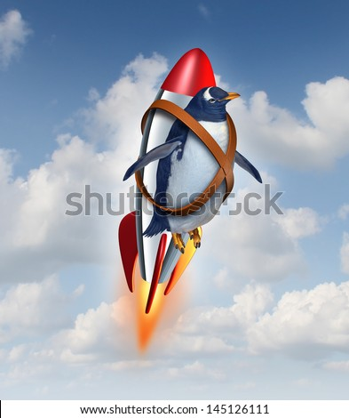 Determined to succeed and overcome limitations concept as a penguin flying in the air with a rocket as a business symbol of achievement and possibilities in your abilities to overcome obstacles. - stock photo