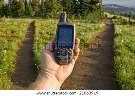 Determining direction with a GPS - stock photo