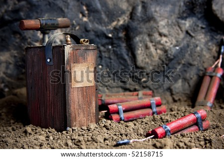 detonating fuse and dynamite on mine - stock photo