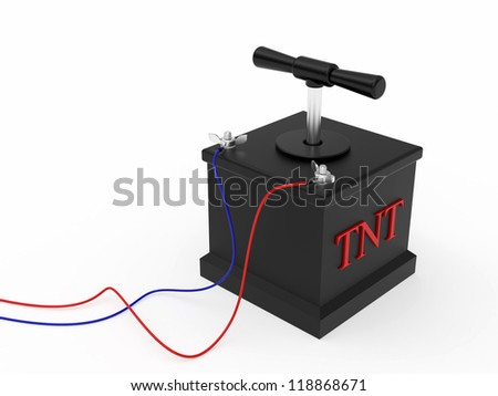 Detonating fuse rendered with soft shadows on white background - stock photo
