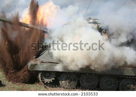 Detonating of the tank - stock photo