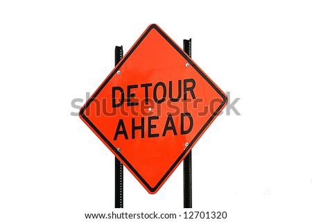Detour ahead road construction sign - stock photo